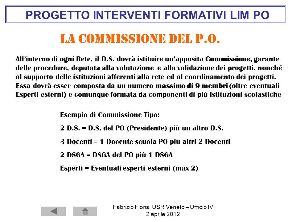 Fabrizio Floris, USR Veneto – Ufficio IV 2 aprile 2012 PROGETTO INTERVENTI FORMATIVI LIM PO La commissione del P.O. Esempio di Commissione Tipo: 2 D.S