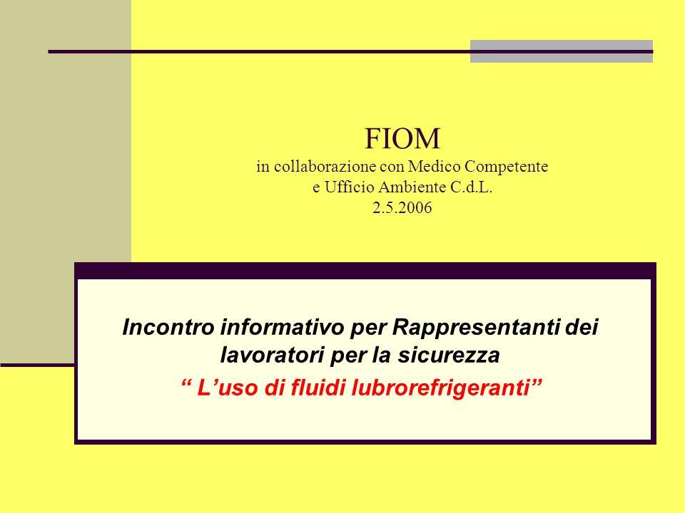 FIOM in collaborazione con Medico Competente e Ufficio Ambiente C.d.L. 2.5.2006 Incontro informativo per Rappresentanti dei lavoratori per la sicurezz