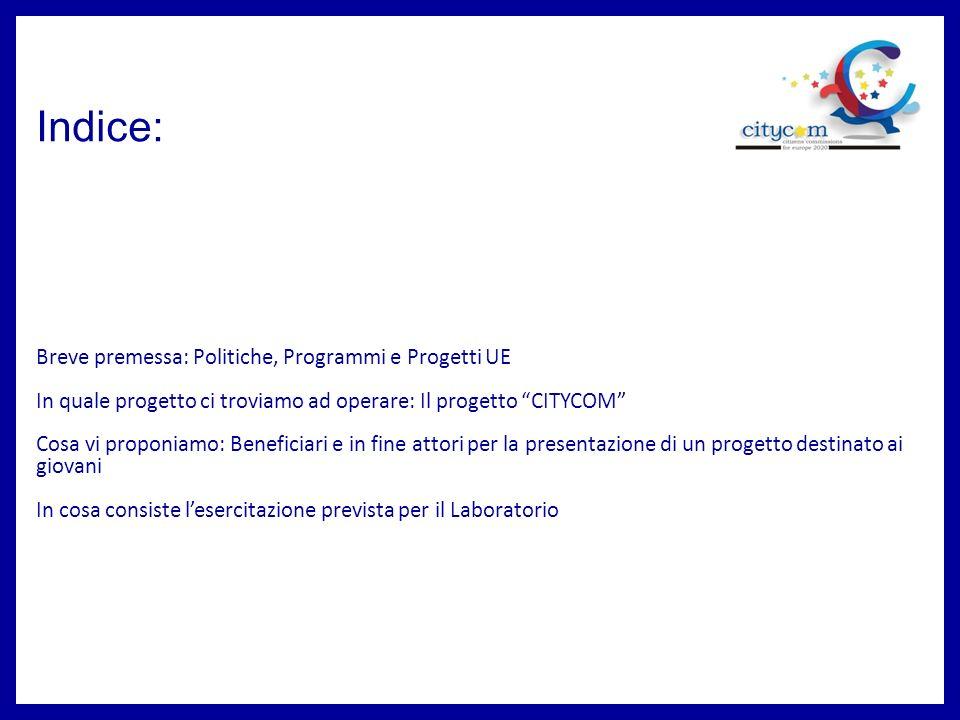 Indice: Breve premessa: Politiche, Programmi e Progetti UE In quale progetto ci troviamo ad operare: Il progetto CITYCOM Cosa vi proponiamo: Beneficia