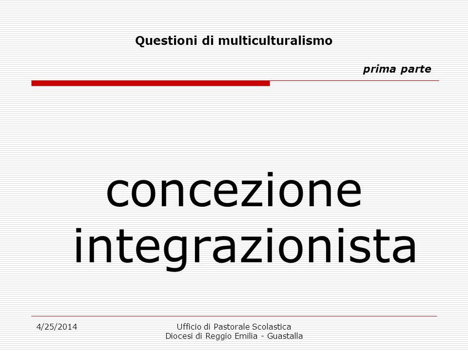 4/25/2014Ufficio di Pastorale Scolastica Diocesi di Reggio Emilia - Guastalla Questioni di multiculturalismo prima parte concezione integrazionista