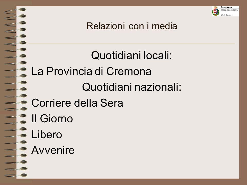 Settimanali locali: La Vita Cattolica Il Piccolo In Primapagina Il Nuovo Torrazzo Bimestrali: Cremona Produce