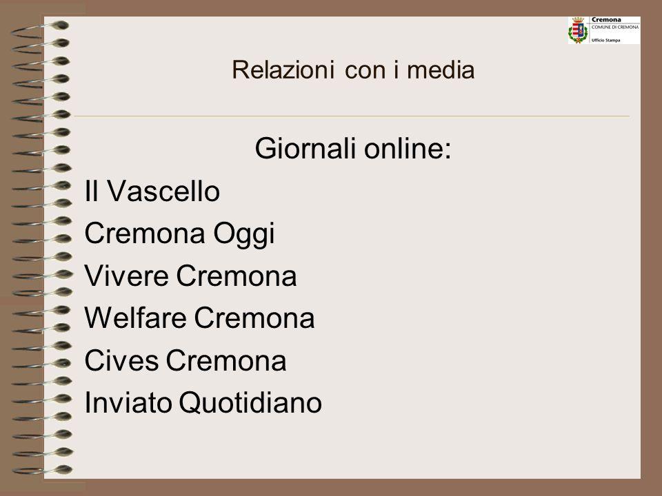 Quotidiani locali: La Provincia di Cremona Quotidiani nazionali: Corriere della Sera Il Giorno Libero Avvenire