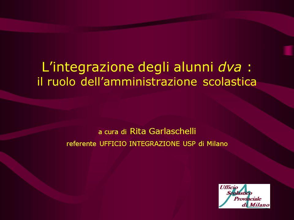 Lintegrazione degli alunni dva : il ruolo dellamministrazione scolastica a cura di Rita Garlaschelli referente UFFICIO INTEGRAZIONE USP di Milano
