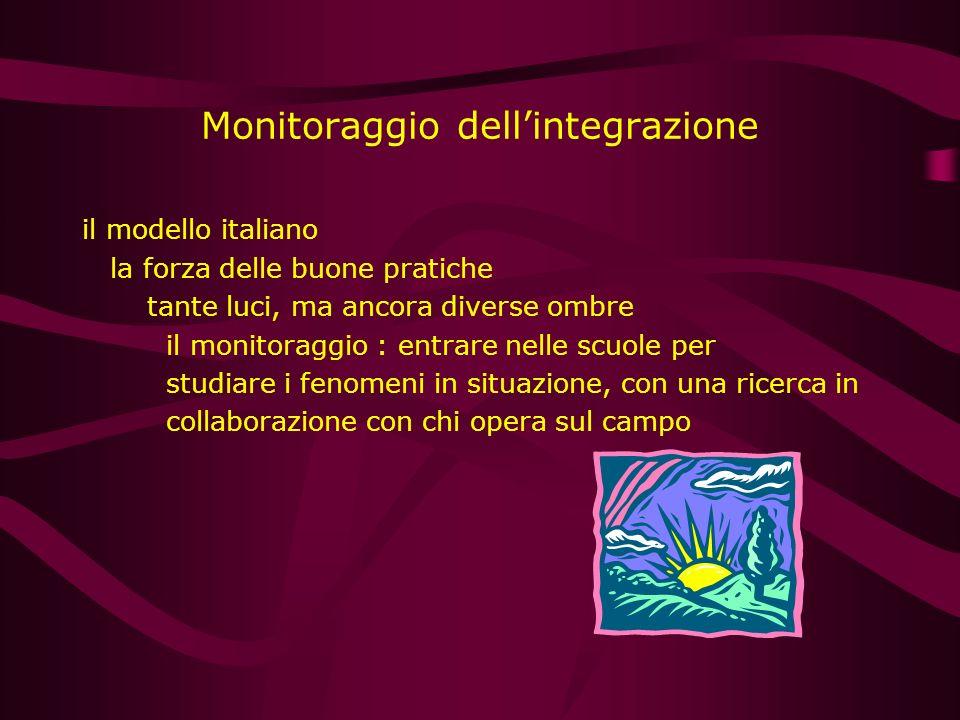Monitoraggio dellintegrazione il modello italiano la forza delle buone pratiche tante luci, ma ancora diverse ombre il monitoraggio : entrare nelle sc