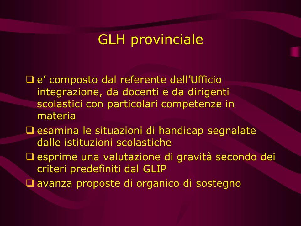 GLH provinciale e composto dal referente dellUfficio integrazione, da docenti e da dirigenti scolastici con particolari competenze in materia esamina
