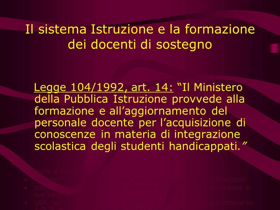 Il sistema Istruzione e la formazione dei docenti di sostegno Legge 104/1992, art. 14: Il Ministero della Pubblica Istruzione provvede alla formazione