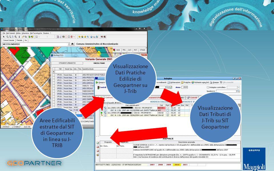 Visualizzazione Dati Pratiche Edilizie di Geopartner su J-Trib Visualizzazione Dati Tributi di J-Trib su SIT Geopartner Aree Edificabili estratte dal