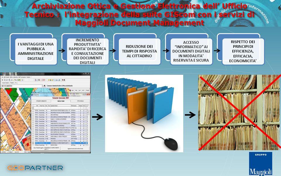 Archiviazione Ottica e Gestione Elettronica dell Ufficio Tecnico : lintegrazione della suite GIScom con i servizi di Maggioli Document Management Arch