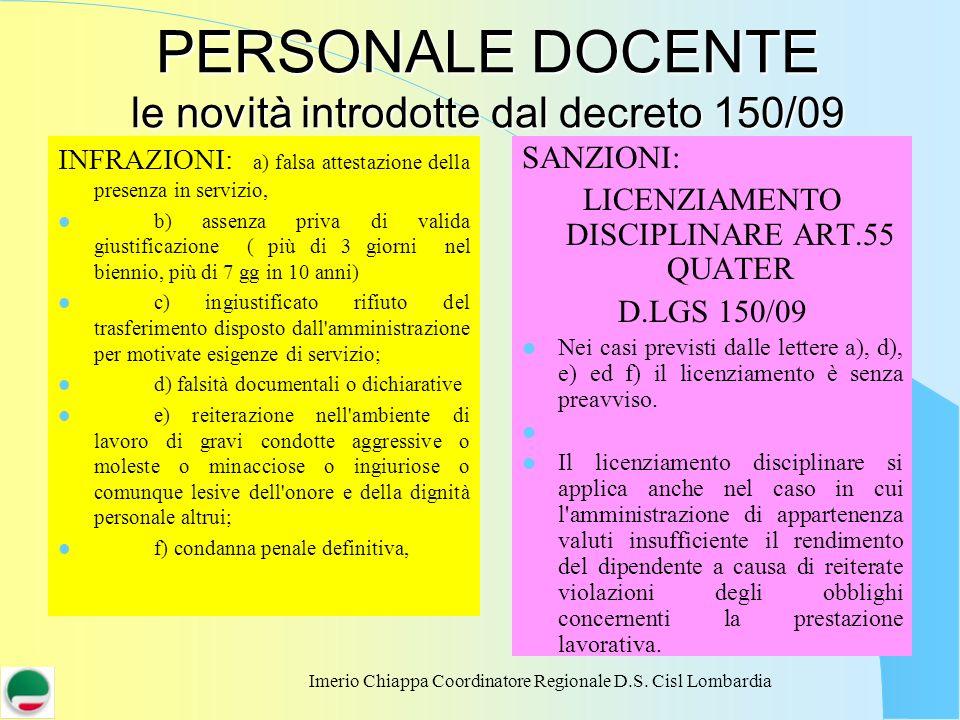Imerio Chiappa Coordinatore Regionale D.S. Cisl Lombardia PERSONALE DOCENTE le novità introdotte dal decreto 150/09 INFRAZIONI: a) falsa attestazione