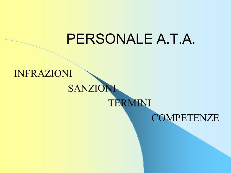 PERSONALE A.T.A. INFRAZIONI SANZIONI TERMINI COMPETENZE