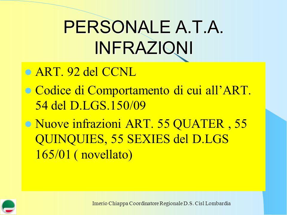 Imerio Chiappa Coordinatore Regionale D.S. Cisl Lombardia PERSONALE A.T.A. INFRAZIONI ART. 92 del CCNL Codice di Comportamento di cui allART. 54 del D