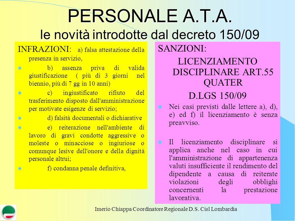 Imerio Chiappa Coordinatore Regionale D.S. Cisl Lombardia PERSONALE A.T.A. le novità introdotte dal decreto 150/09 INFRAZIONI: a) falsa attestazione d