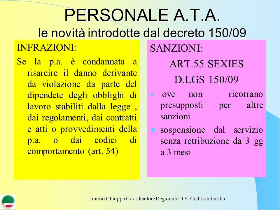 Imerio Chiappa Coordinatore Regionale D.S. Cisl Lombardia PERSONALE A.T.A. le novità introdotte dal decreto 150/09 INFRAZIONI: Se la p.a. è condannata