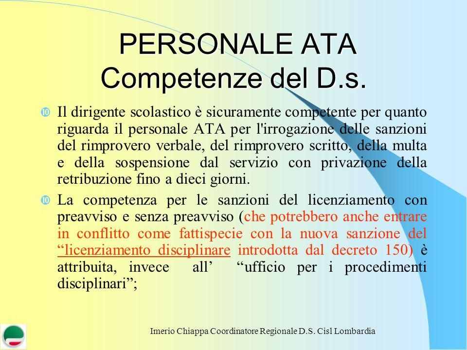 Imerio Chiappa Coordinatore Regionale D.S. Cisl Lombardia PERSONALE ATA Competenze del D.s. PERSONALE ATA Competenze del D.s. Il dirigente scolastico