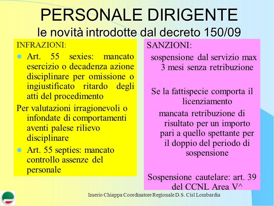 Imerio Chiappa Coordinatore Regionale D.S. Cisl Lombardia PERSONALE DIRIGENTE le novità introdotte dal decreto 150/09 INFRAZIONI: Art. 55 sexies: manc