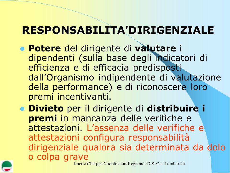 Imerio Chiappa Coordinatore Regionale D.S. Cisl Lombardia RESPONSABILITADIRIGENZIALE Potere del dirigente di valutare i dipendenti (sulla base degli i