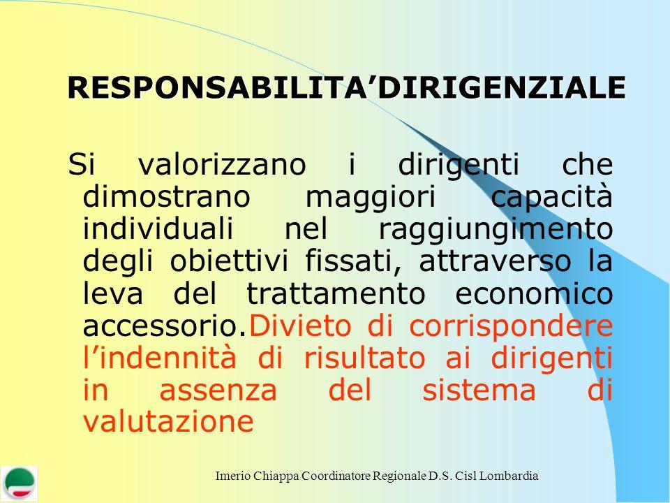 Imerio Chiappa Coordinatore Regionale D.S. Cisl Lombardia RESPONSABILITADIRIGENZIALE Si valorizzano i dirigenti che dimostrano maggiori capacità indiv