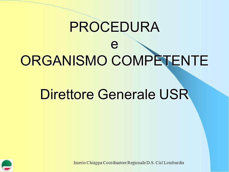 Imerio Chiappa Coordinatore Regionale D.S. Cisl Lombardia PROCEDURA e ORGANISMO COMPETENTE Direttore Generale USR
