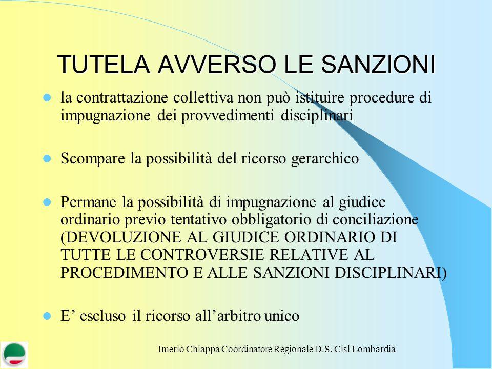Imerio Chiappa Coordinatore Regionale D.S. Cisl Lombardia TUTELA AVVERSO LE SANZIONI la contrattazione collettiva non può istituire procedure di impug
