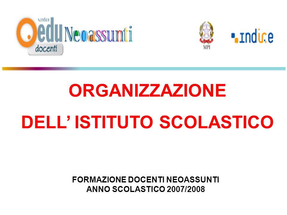 ORGANIZZAZIONE DELL ISTITUTO SCOLASTICO FORMAZIONE DOCENTI NEOASSUNTI ANNO SCOLASTICO 2007/2008