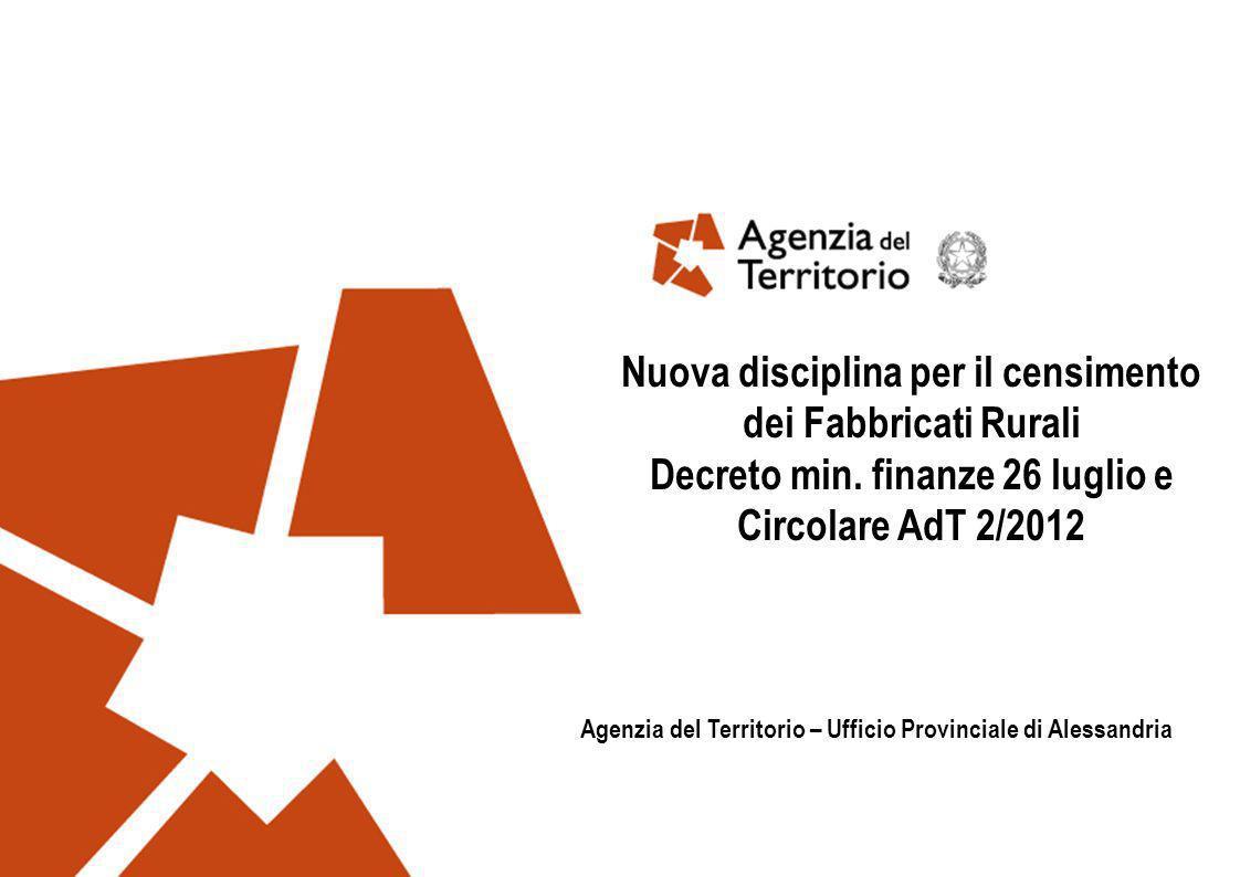 Agenzia del Territorio1 Nuova disciplina per il censimento dei Fabbricati Rurali Decreto min. finanze 26 luglio e Circolare AdT 2/2012 Agenzia del Ter