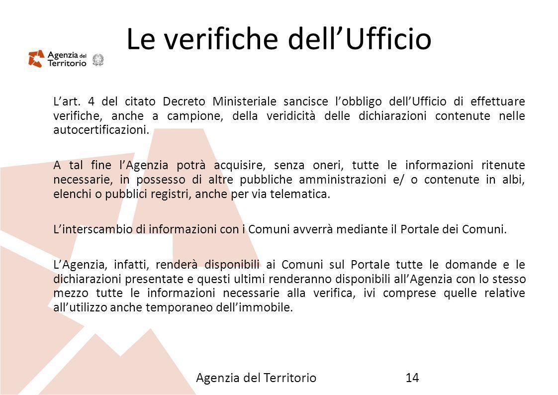 Agenzia del Territorio14 Le verifiche dellUfficio Lart. 4 del citato Decreto Ministeriale sancisce lobbligo dellUfficio di effettuare verifiche, anche