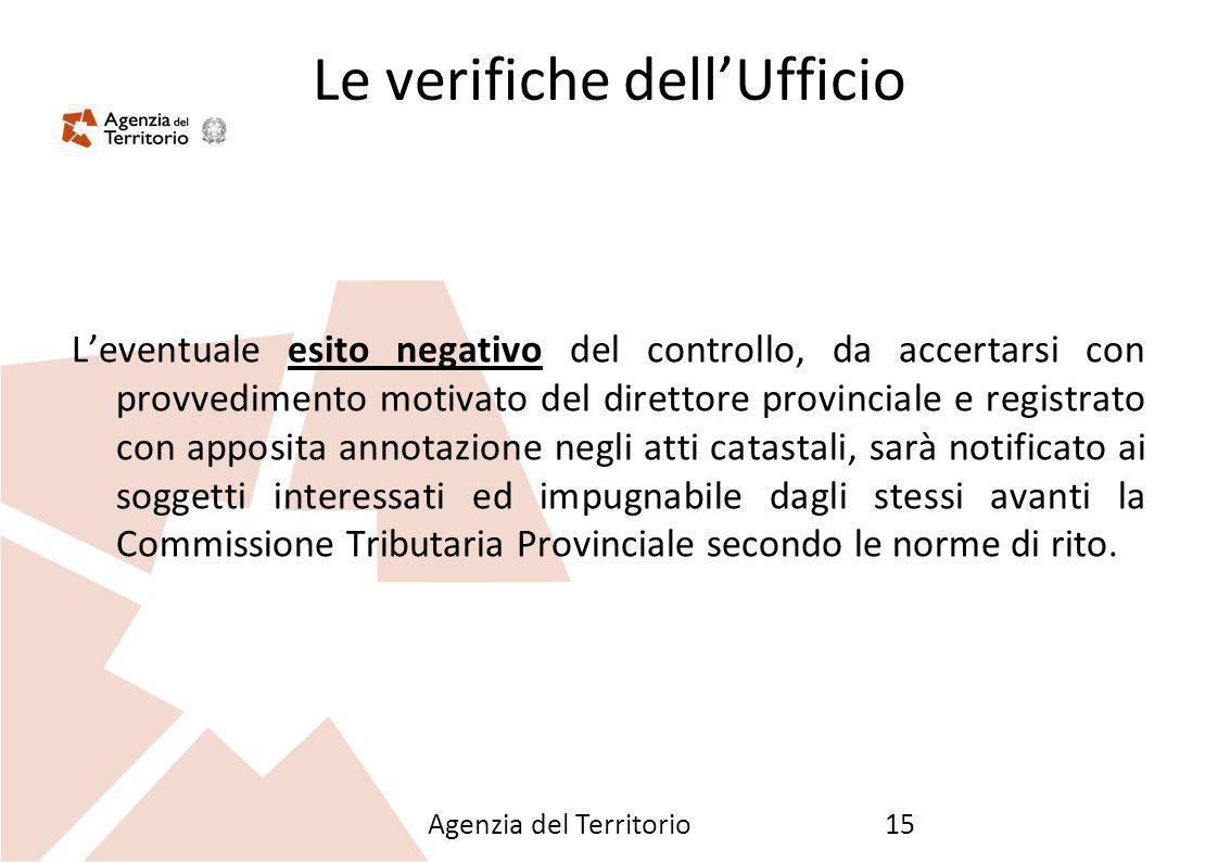 Agenzia del Territorio15 Le verifiche dellUfficio Leventuale esito negativo del controllo, da accertarsi con provvedimento motivato del direttore prov