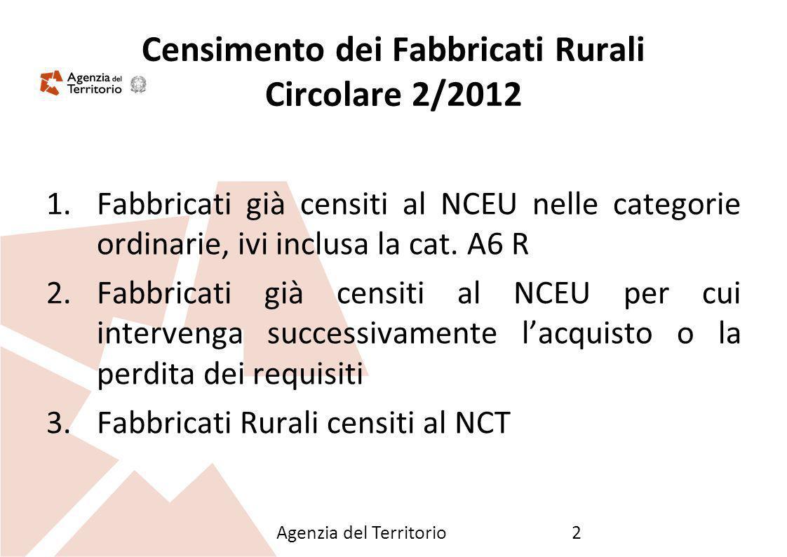 Agenzia del Territorio2 Censimento dei Fabbricati Rurali Circolare 2/2012 1.Fabbricati già censiti al NCEU nelle categorie ordinarie, ivi inclusa la c