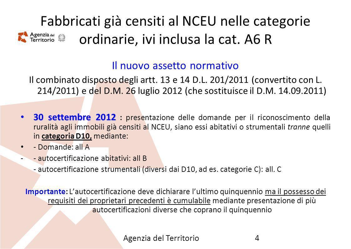 Agenzia del Territorio4 Fabbricati già censiti al NCEU nelle categorie ordinarie, ivi inclusa la cat. A6 R Il nuovo assetto normativo Il combinato dis