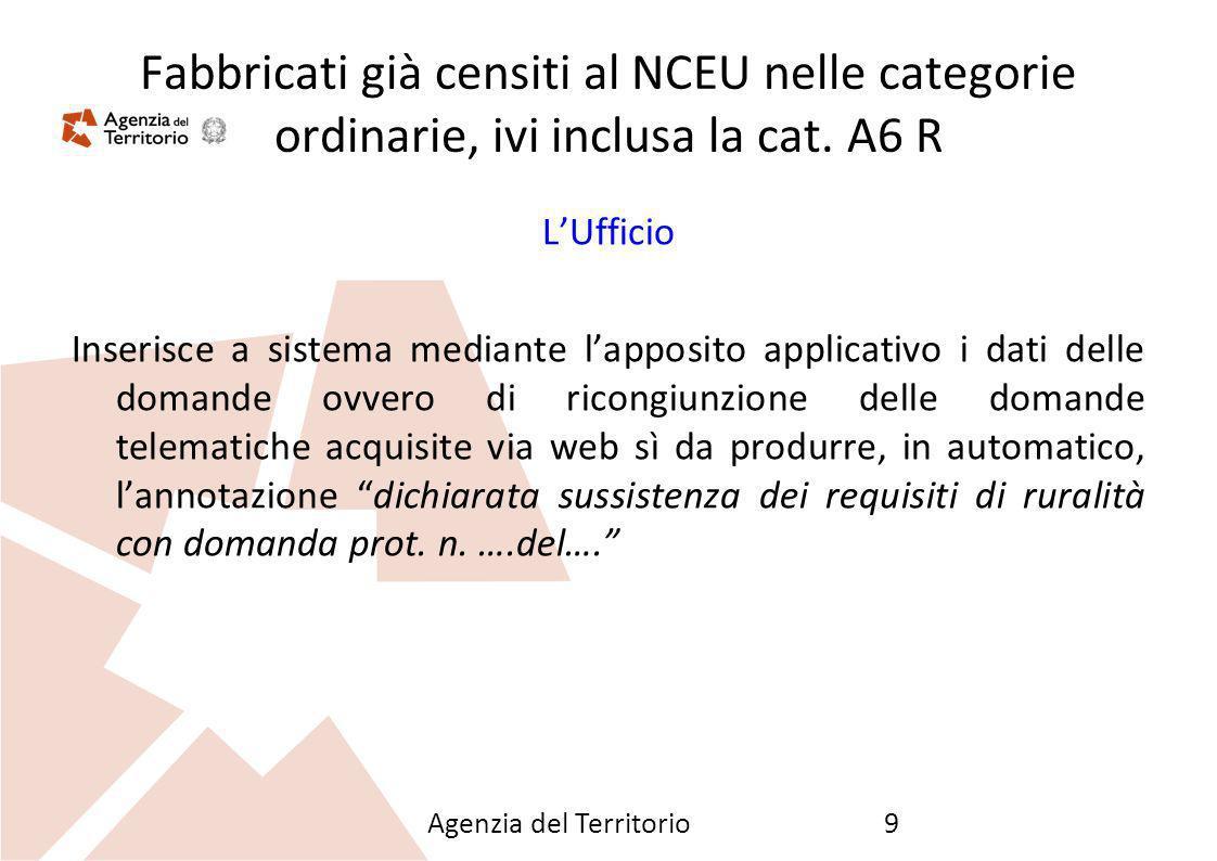 Agenzia del Territorio9 Fabbricati già censiti al NCEU nelle categorie ordinarie, ivi inclusa la cat. A6 R LUfficio Inserisce a sistema mediante lappo