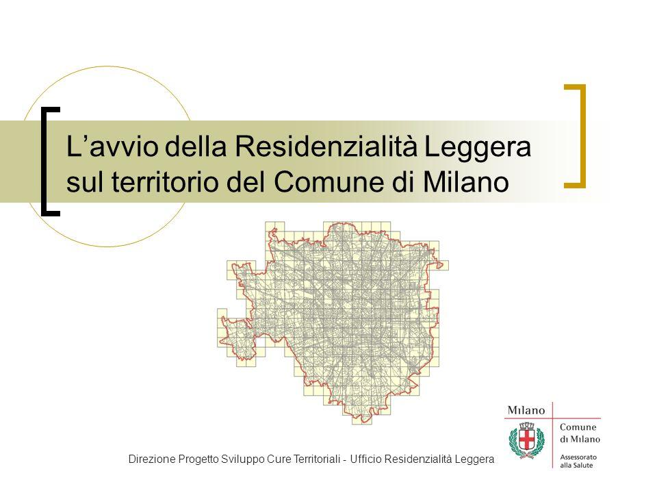 Lavvio della Residenzialità Leggera sul territorio del Comune di Milano Direzione Progetto Sviluppo Cure Territoriali - Ufficio Residenzialità Leggera