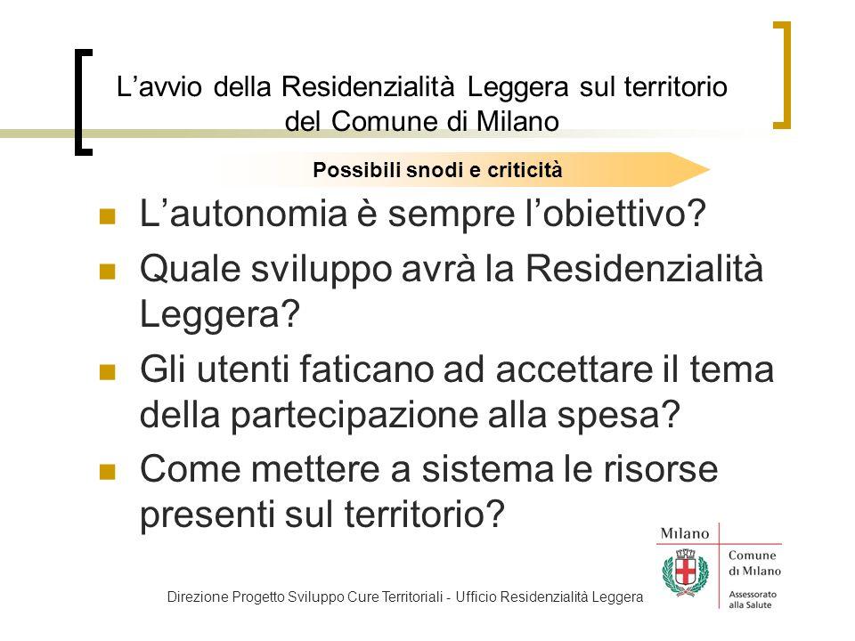 Lavvio della Residenzialità Leggera sul territorio del Comune di Milano Lautonomia è sempre lobiettivo.