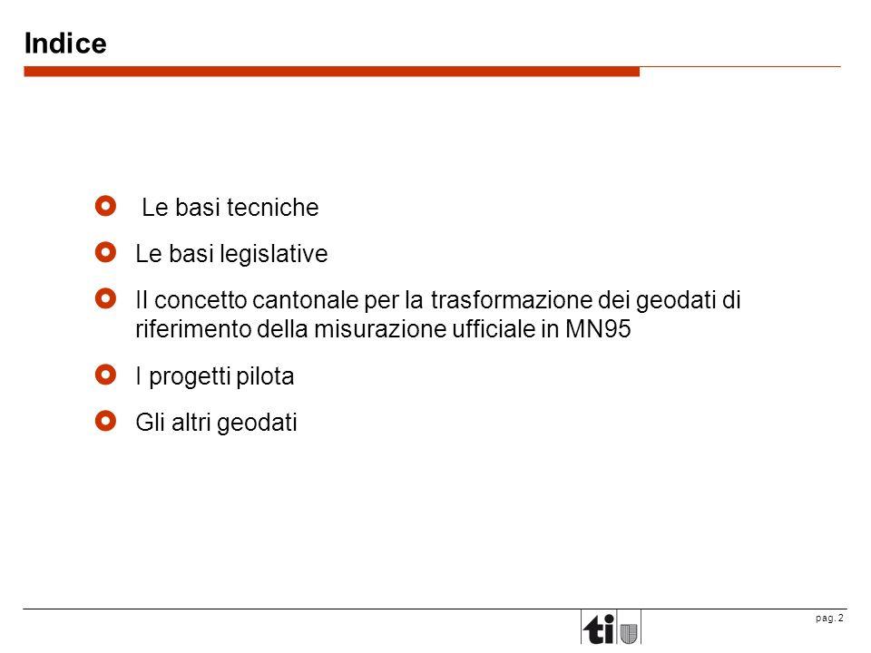 pag. 2 Indice Le basi tecniche Le basi legislative Il concetto cantonale per la trasformazione dei geodati di riferimento della misurazione ufficiale
