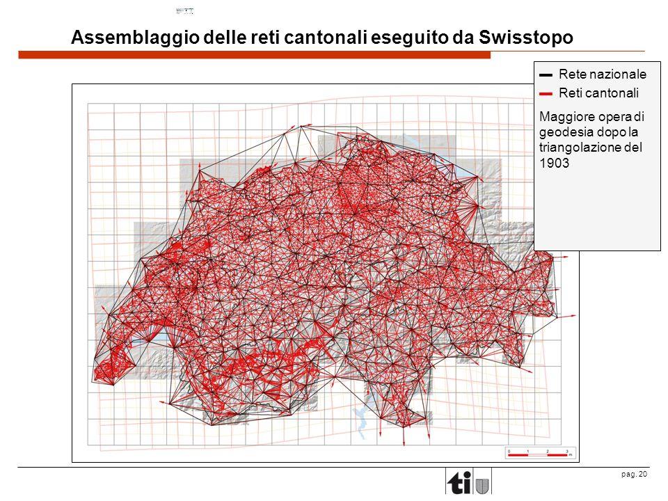 pag. 20 Rete nazionale Reti cantonali Maggiore opera di geodesia dopo la triangolazione del 1903 Assemblaggio delle reti cantonali eseguito da Swissto
