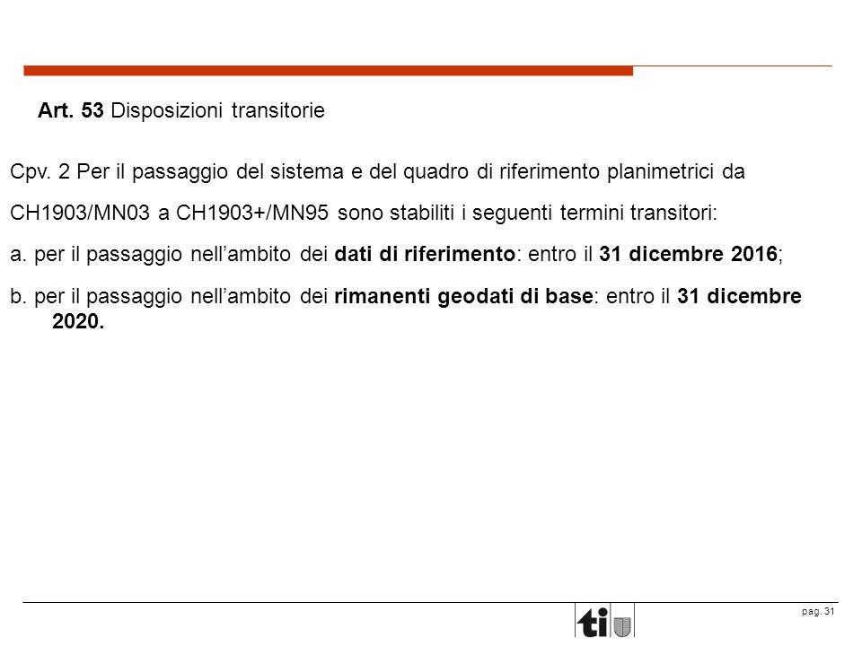 pag.31 Art. 53 Disposizioni transitorie Cpv.