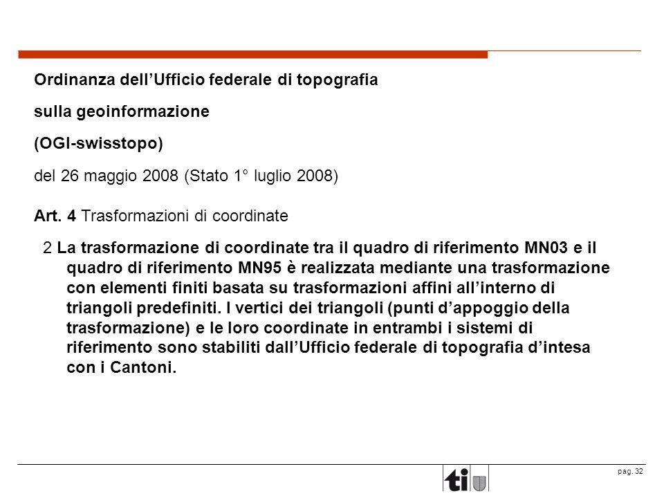 pag. 32 Ordinanza dellUfficio federale di topografia sulla geoinformazione (OGI-swisstopo) del 26 maggio 2008 (Stato 1° luglio 2008) Art. 4 Trasformaz