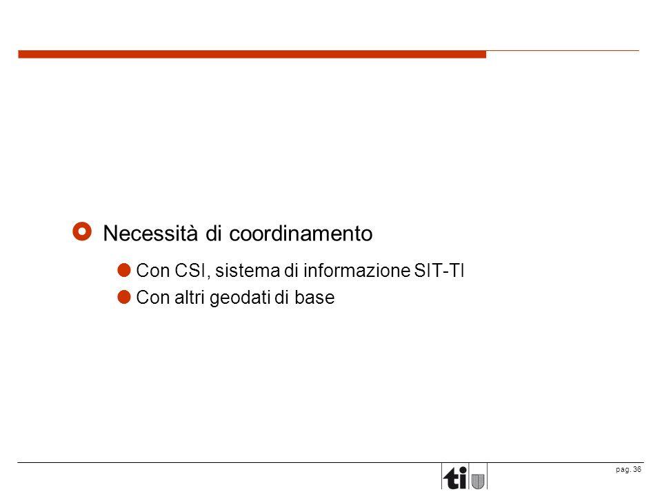 pag. 36 Necessità di coordinamento Con CSI, sistema di informazione SIT-TI Con altri geodati di base