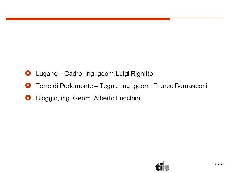 pag.38 Lugano – Cadro, ing. geom.Luigi Righitto Terre di Pedemonte – Tegna, ing.