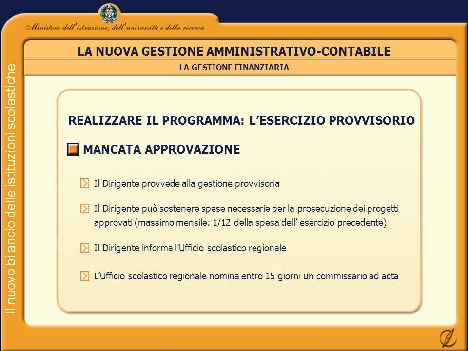Il nuovo bilancio delle istituzioni scolastiche LA NUOVA GESTIONE AMMINISTRATIVO-CONTABILE REALIZZARE IL PROGRAMMA: LESERCIZIO PROVVISORIO MANCATA APP