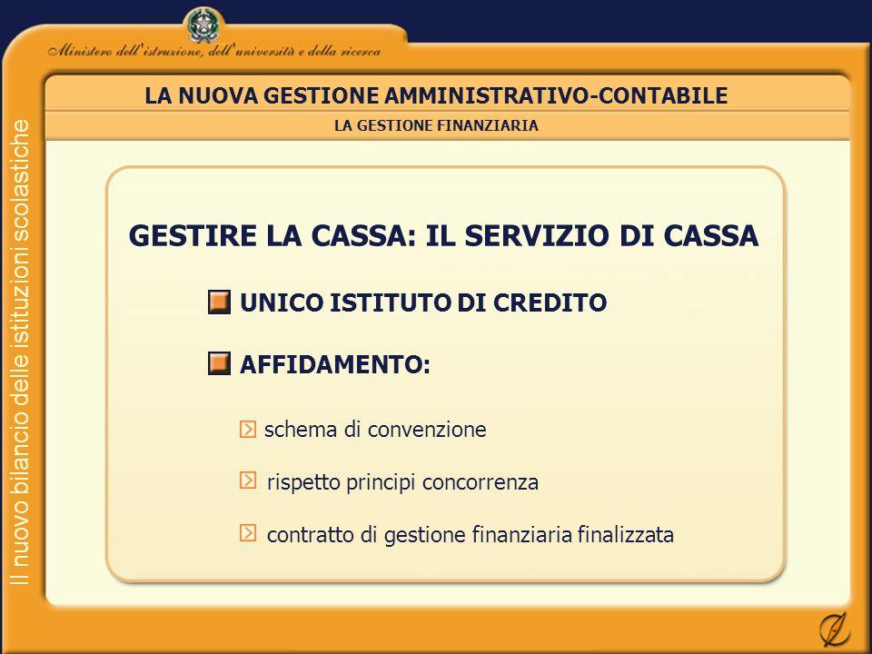 Il nuovo bilancio delle istituzioni scolastiche LA NUOVA GESTIONE AMMINISTRATIVO-CONTABILE LA GESTIONE FINANZIARIA GESTIRE LA CASSA: IL SERVIZIO DI CA