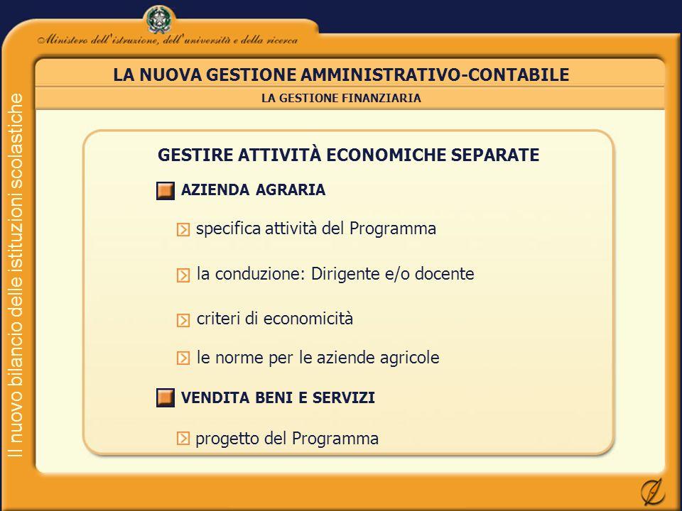 Il nuovo bilancio delle istituzioni scolastiche LA NUOVA GESTIONE AMMINISTRATIVO-CONTABILE LA GESTIONE FINANZIARIA GESTIRE ATTIVITÀ ECONOMICHE SEPARAT