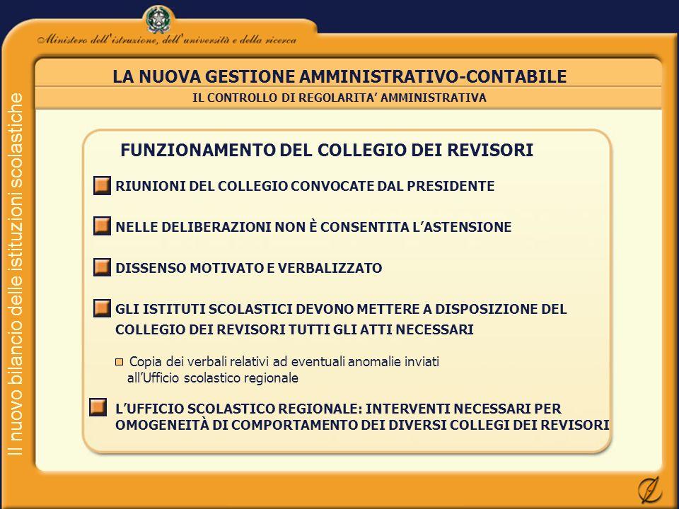 Il nuovo bilancio delle istituzioni scolastiche LA NUOVA GESTIONE AMMINISTRATIVO-CONTABILE IL CONTROLLO DI REGOLARITA AMMINISTRATIVA FUNZIONAMENTO DEL