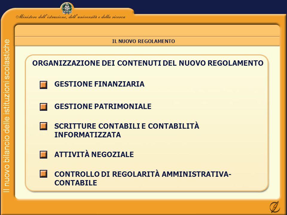 Il nuovo bilancio delle istituzioni scolastiche IL NUOVO REGOLAMENTO ORGANIZZAZIONE DEI CONTENUTI DEL NUOVO REGOLAMENTO GESTIONE FINANZIARIA GESTIONE