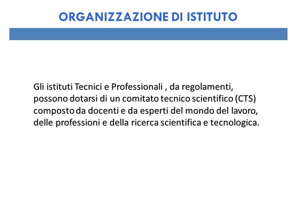 Gli istituti Tecnici e Professionali, da regolamenti, possono dotarsi di un comitato tecnico scientifico (CTS) composto da docenti e da esperti del mo