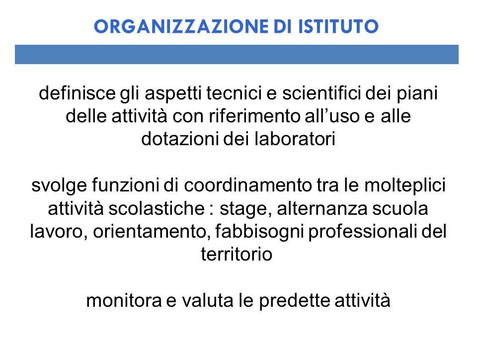 definisce gli aspetti tecnici e scientifici dei piani delle attività con riferimento alluso e alle dotazioni dei laboratori svolge funzioni di coordin