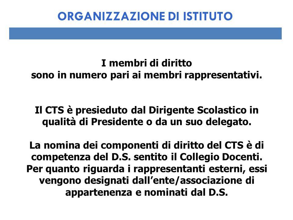 I membri di diritto sono in numero pari ai membri rappresentativi. Il CTS è presieduto dal Dirigente Scolastico in qualità di Presidente o da un suo d