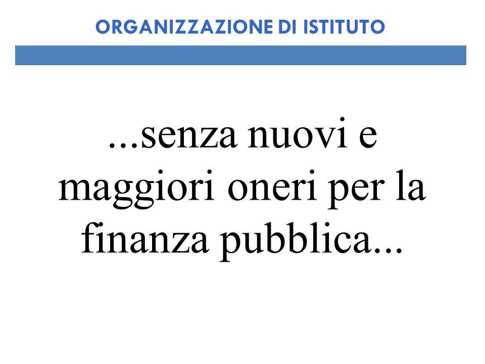 ...senza nuovi e maggiori oneri per la finanza pubblica... ORGANIZZAZIONE DI ISTITUTO