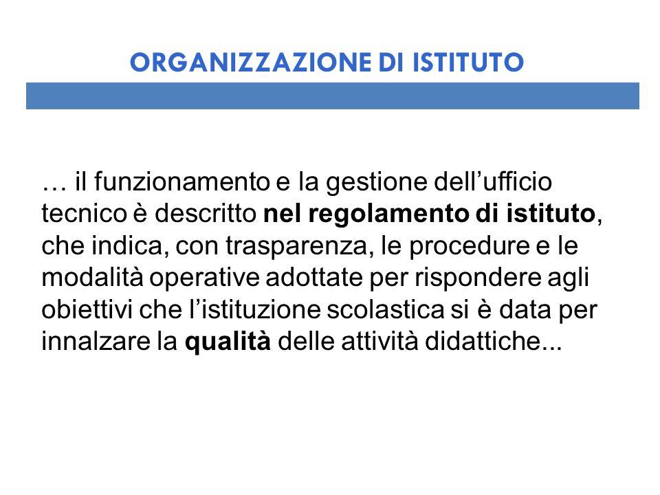 … il funzionamento e la gestione dellufficio tecnico è descritto nel regolamento di istituto, che indica, con trasparenza, le procedure e le modalità