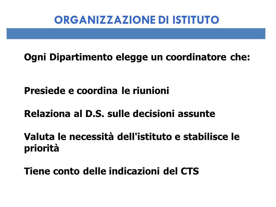 Ogni Dipartimento elegge un coordinatore che: Presiede e coordina le riunioni Relaziona al D.S. sulle decisioni assunte Valuta le necessità dell'istit