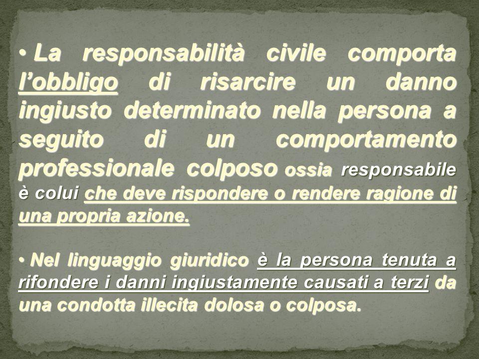 La responsabilità civile comporta lobbligo di risarcire un danno ingiusto determinato nella persona a seguito di un comportamento professionale colpos
